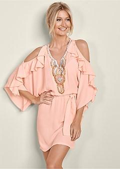 embellished ruffle dress