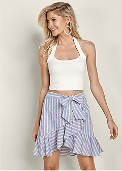 striped ruffle mini skirt