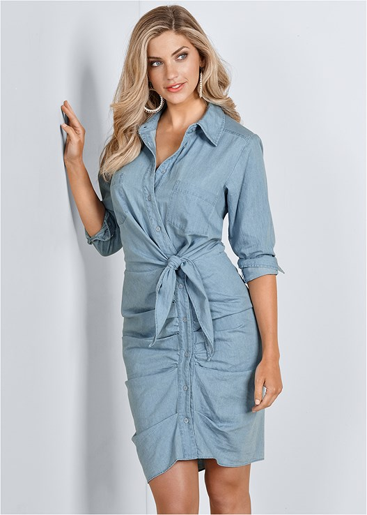 RUCHED DETAIL BUTTON DOWN TIE WAIST SHIRT DRESS,RAFFIA DETAIL HEELS