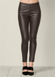Front View Faux Leather Leggings