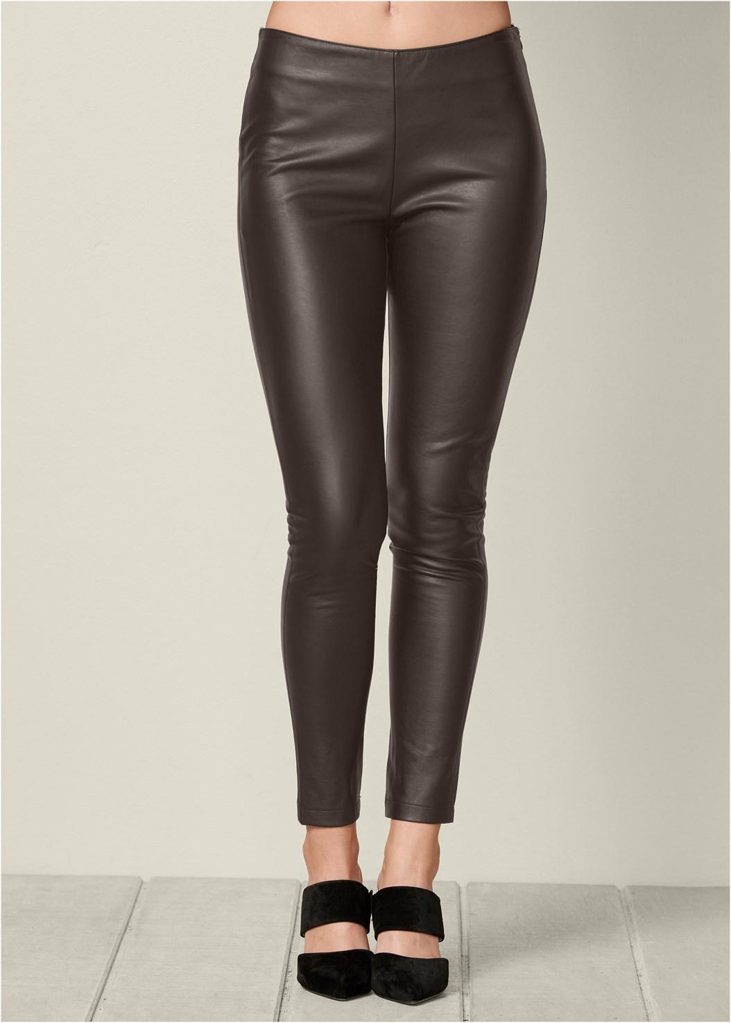 Faux Leather Leggings,Tie Back Boots