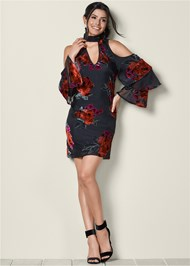 Front View Cold Shoulder Ruffle Dress