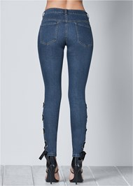 Back view Lace Up Detail Jeans