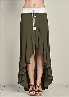 tassel detail ruffle skirt
