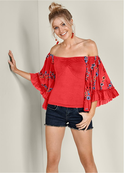 SLEEVE DETAIL TOP,CUT OFF JEAN SHORTS,ESPADRILLE PLATFORM WEDGES,BALL DROP EARRINGS