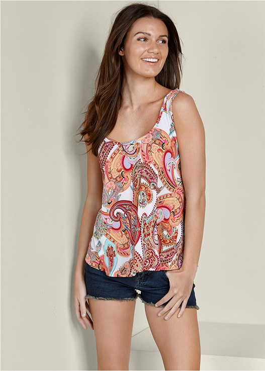 PAISLEY PRINTED TANK,CUT OFF JEAN SHORTS,SMOOTH PLUNGE T-SHIRT BRA