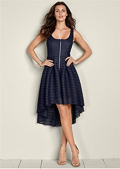 high low zip detail dress