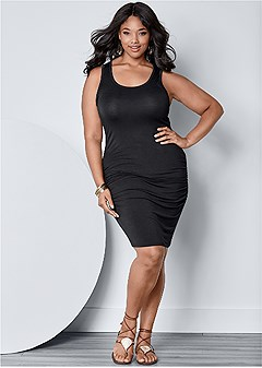 7b0f36829d plus size ruched tank dress
