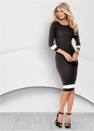 Front view Color Block Sweater Dress