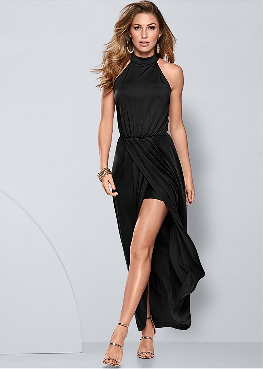 LONG DRAPE DRESS,HIGH HEEL STRAPPY SANDAL,EVERYDAY YOU LACE BACK BRA