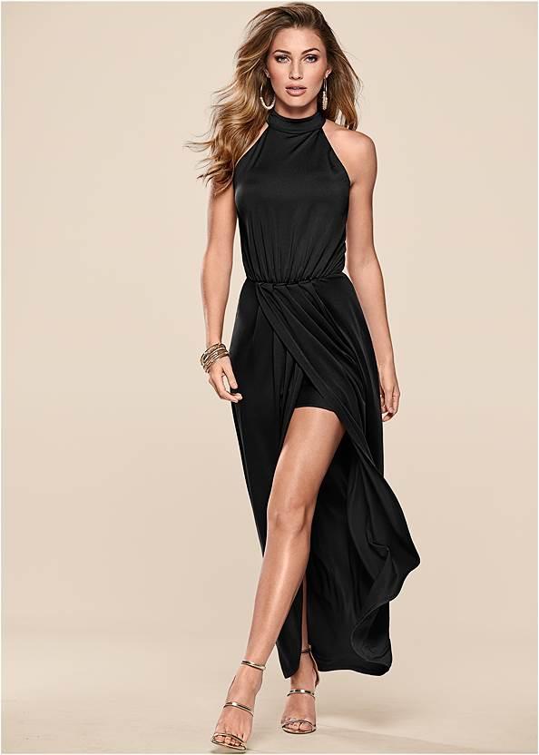 Long Drape Dress,High Heel Strappy Sandals,Rhinestone Tie Detail Belt,Rhinestone Clutch