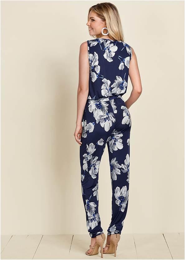 Back View Floral Print Jumpsuit