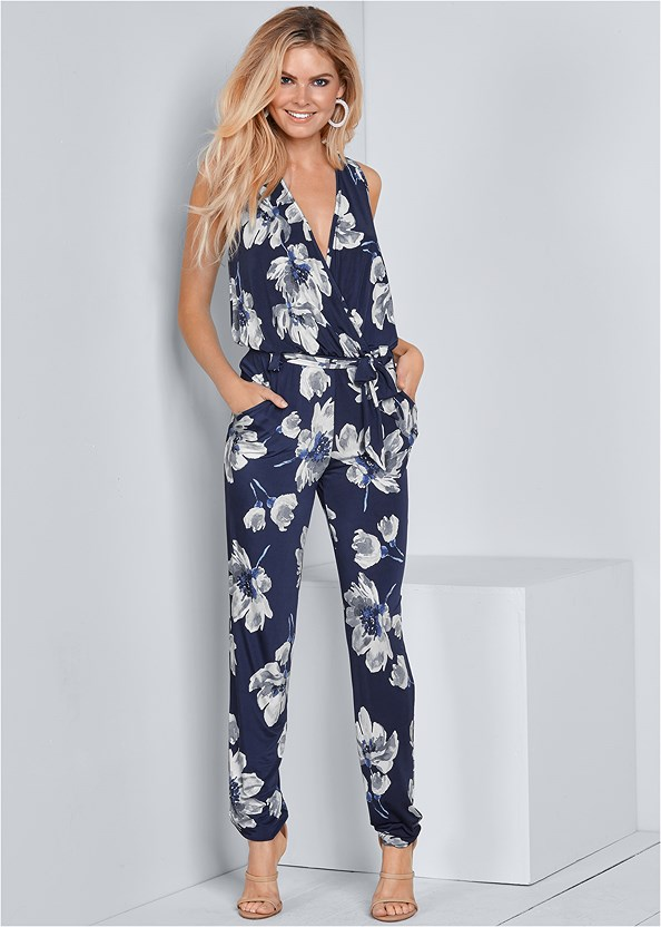 Floral Print Jumpsuit,High Heel Strappy Sandals,Crisscross Strappy Heel