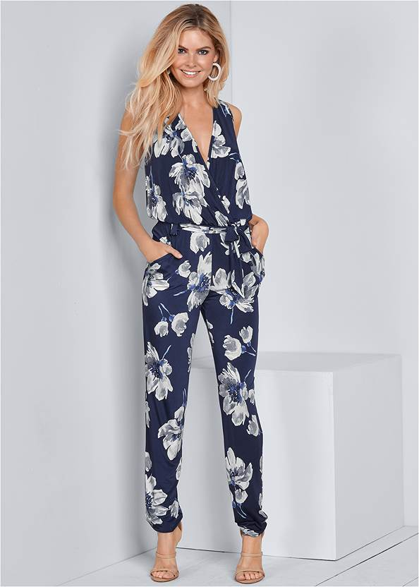 Floral Print Jumpsuit,High Heel Strappy Sandals,Statement Gold Earring Set,Animal Chain Crossbody Bag