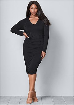 plus size dress with faux shrug