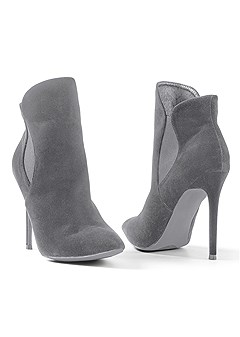 faux suede pointy bootie