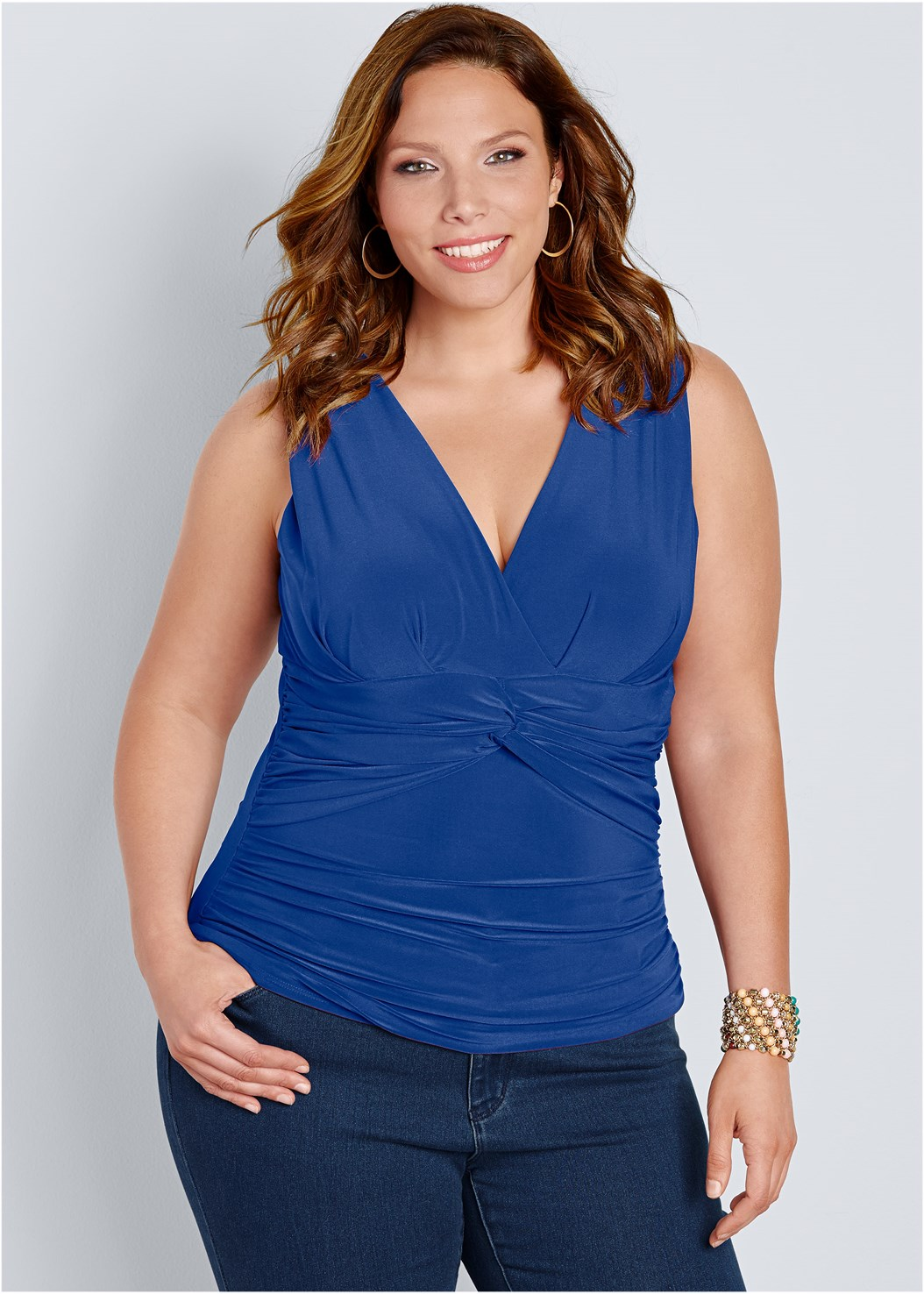 Knot Front Sleeveless Top,Bum Lifter Jeans,High Heel Strappy Sandals