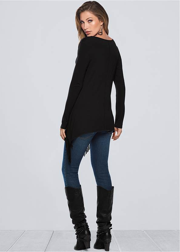 Back view Fringe Detail Tunic Top