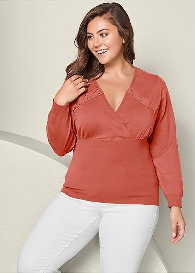 Plus Size Lacing Detail Sweater