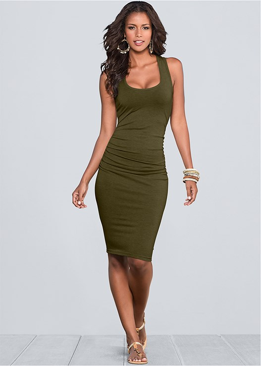 RUCHED TANK DRESS,CONFIDENCE LEG SMOOTHER