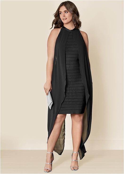 BANDAGE DRESS,HIGH HEEL STRAPPY SANDALS