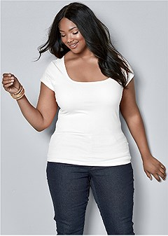 plus size square neck top