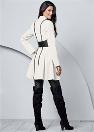 Back view Faux Leather Detail Jacket