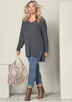 plus size high slit tunic sweater