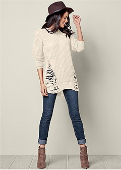 ripped crew neck sweater
