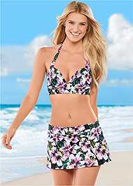 Front view Mid Rise Swim Skirt Bikini Bottom