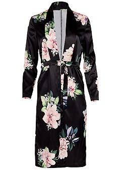plus size floral long jacket