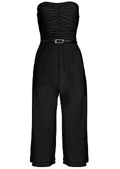 plus size strapless culotte jumpsuit