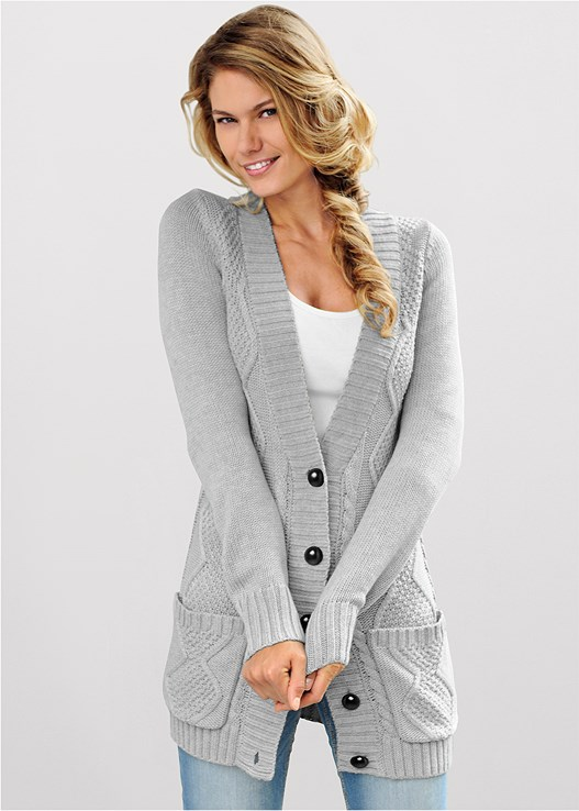 VENUS | Extra Long Cardigan in Light Grey