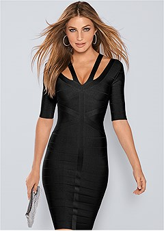 slimming strap detail dress