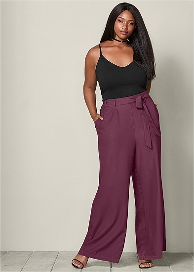 Plus Size Belted Wide Leg Pants