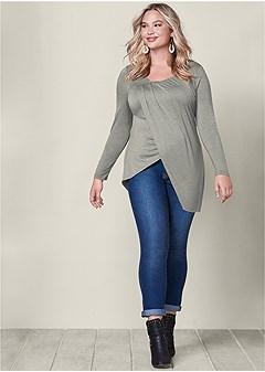 plus size asymmetrical drape top