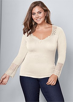 plus size crochet detailed sweater