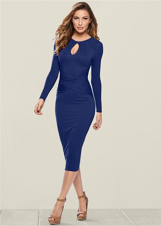 CUT OUT NECK DETAIL DRESS,PEEP TOE ANKLE STRAP HEEL,CONFIDENCE SHAPING SHORT