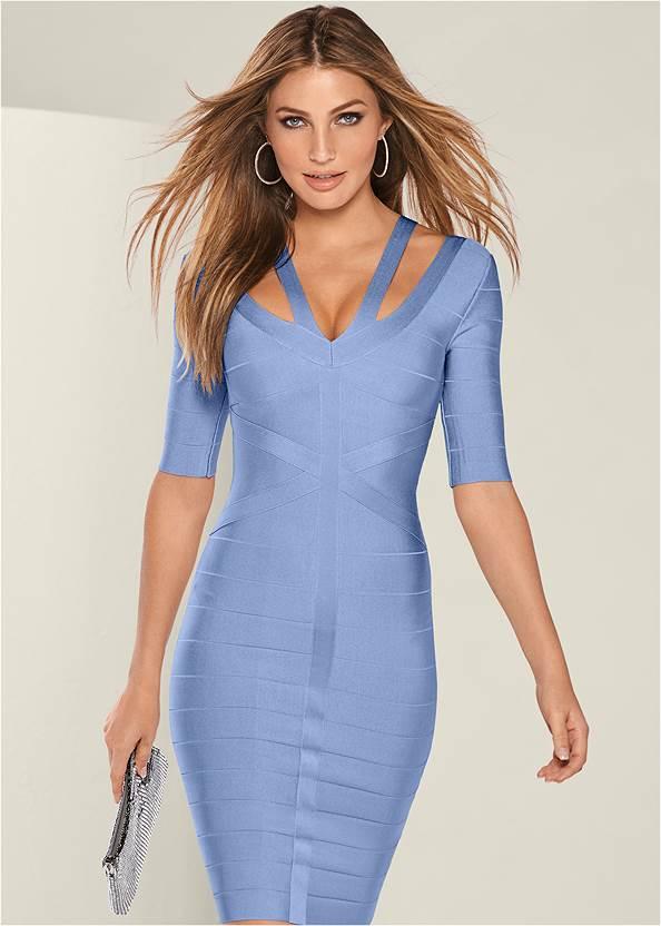 Bandage Strap Detail Dress,Rhinestone Clutch