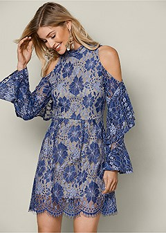 cold shoulder lace dress