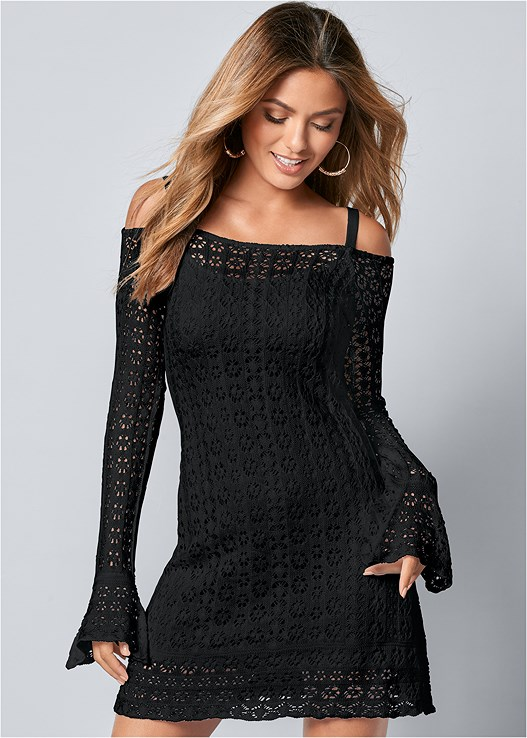 COLD SHOULDER CROCHET DRESS
