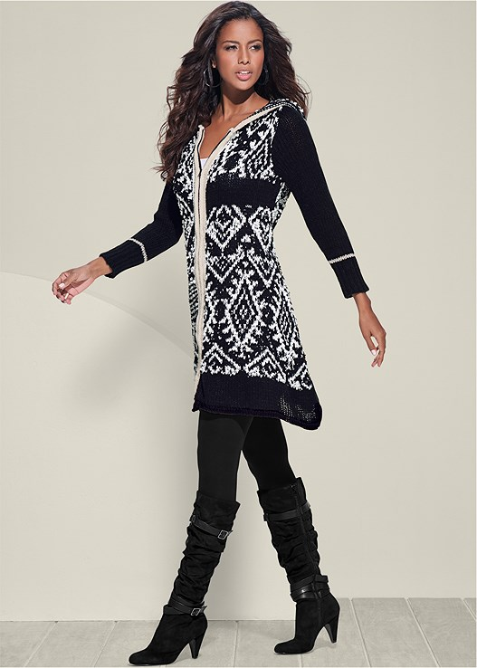 PRINTED ZIP UP CARDIGAN,SEAMLESS CAMI,BASIC LEGGINGS,SLOUCHY LAYERED STRAP BOOTS