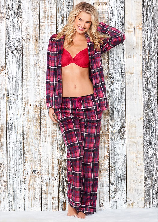 COZY BUTTON DOWN PAJAMA SET,EVERYDAY YOU UNLINED BRA