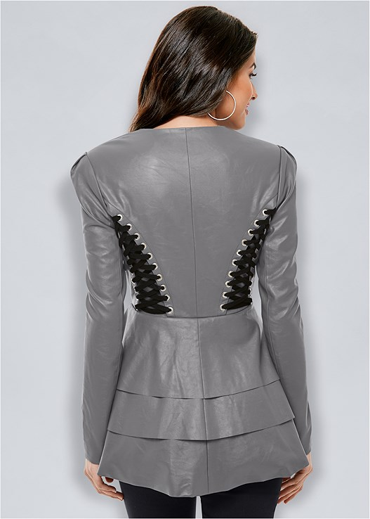 8b119e5383 LACE UP FAUX LEATHER JACKET in Dark Grey   Black