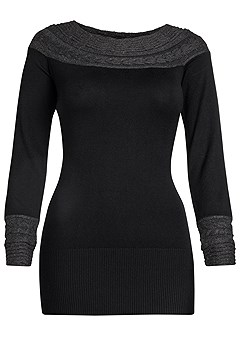 cable detail tunic sweater