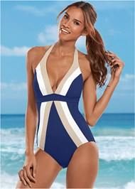 Front view Flattering Halter One-Piece