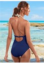 Back view Flattering Halter One-Piece