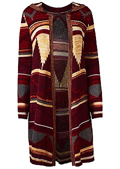 plus size printed long sleeve duster