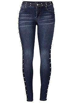 plus size side stud detail jeans