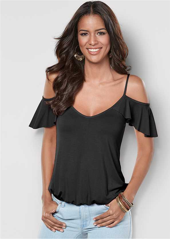 Ruffle Cold Shoulder Top,Frayed Cut Off Jean Shorts